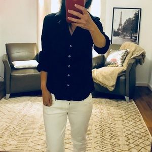 Banana Republic Black Fitted Button Down Shirt S